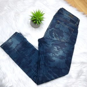 KUT from the Kloth Reese Blue Camo Distressed Jean